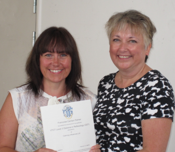 Congratulations Francoise on your reflexology diploma Sept 2014